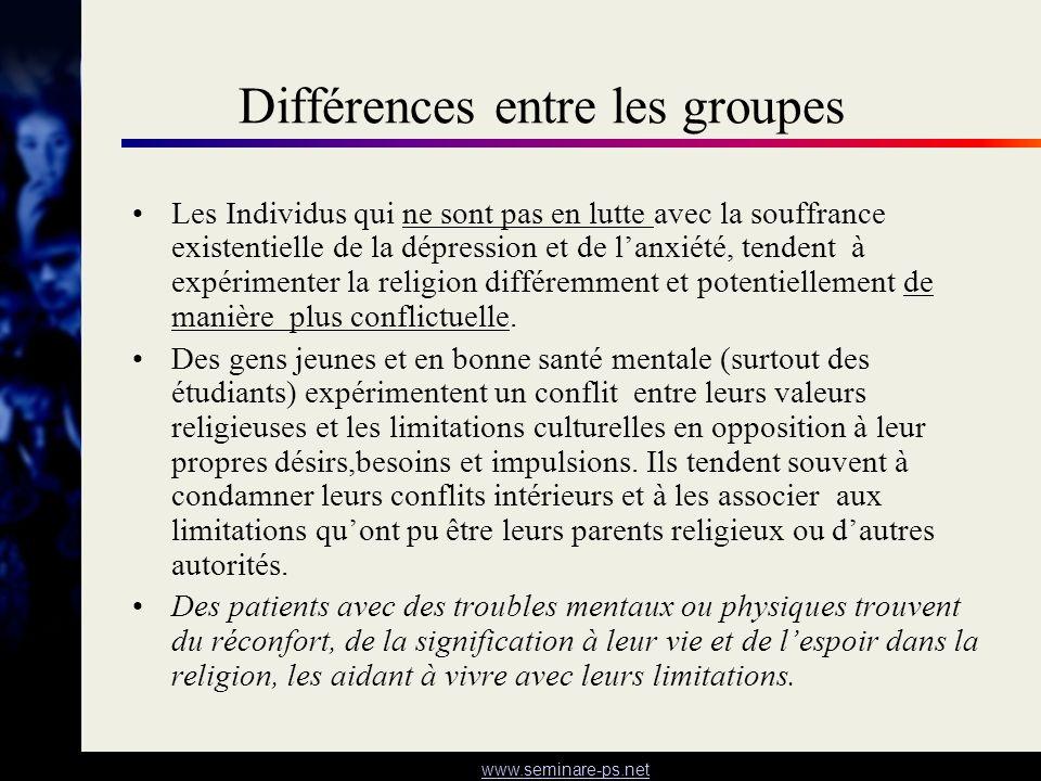 www.seminare-ps.net Différences entre les groupes Les Individus qui ne sont pas en lutte avec la souffrance existentielle de la dépression et de lanxi