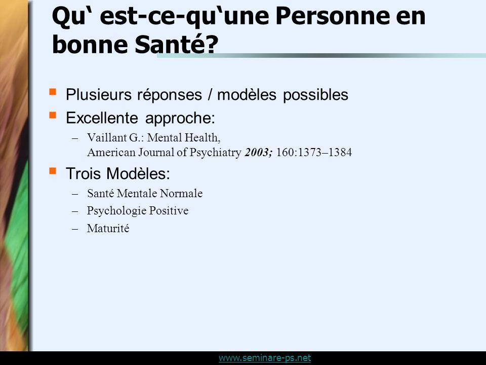www.seminare-ps.net Qu est-ce-quune Personne en bonne Santé.
