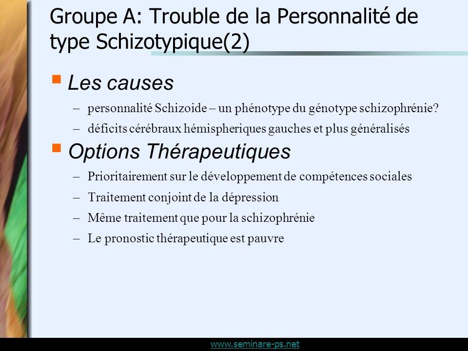 www.seminare-ps.net Groupe A: Trouble de la Personnalité de type Schizotypique(2) Les causes –personnalité Schizoide – un phénotype du génotype schizophrénie.