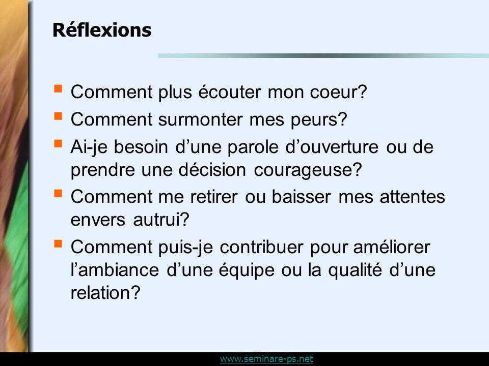 www.seminare-ps.net Réflexions Comment plus écouter mon coeur.