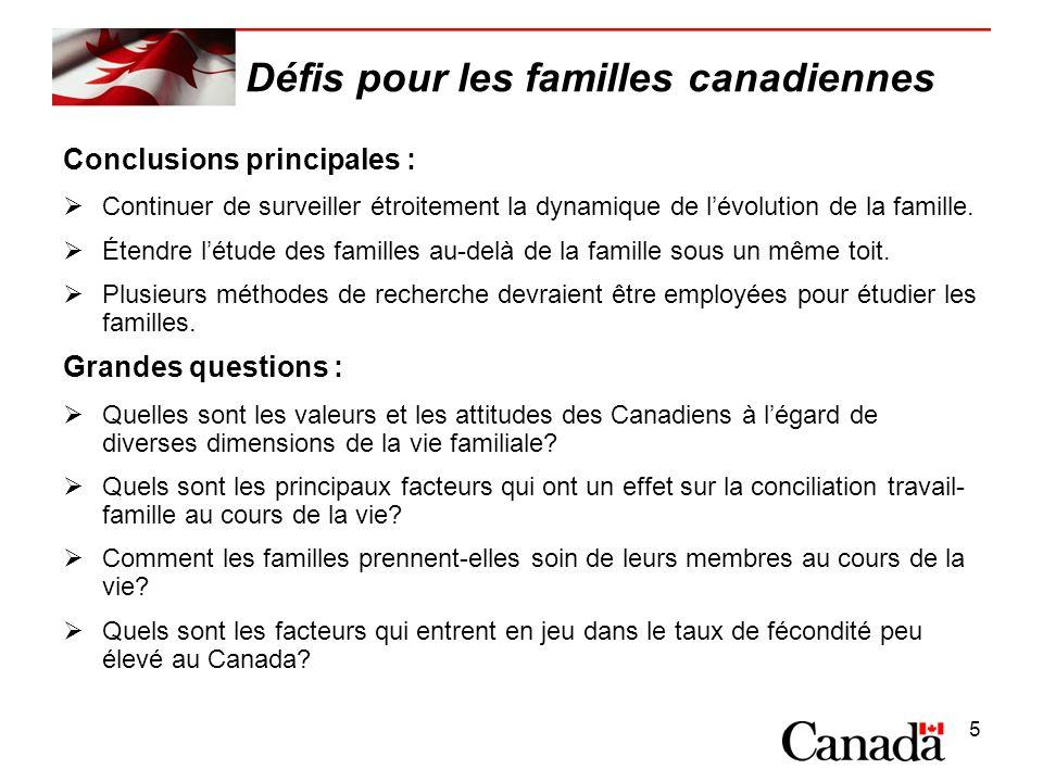 5 Défis pour les familles canadiennes Conclusions principales : Continuer de surveiller étroitement la dynamique de lévolution de la famille.