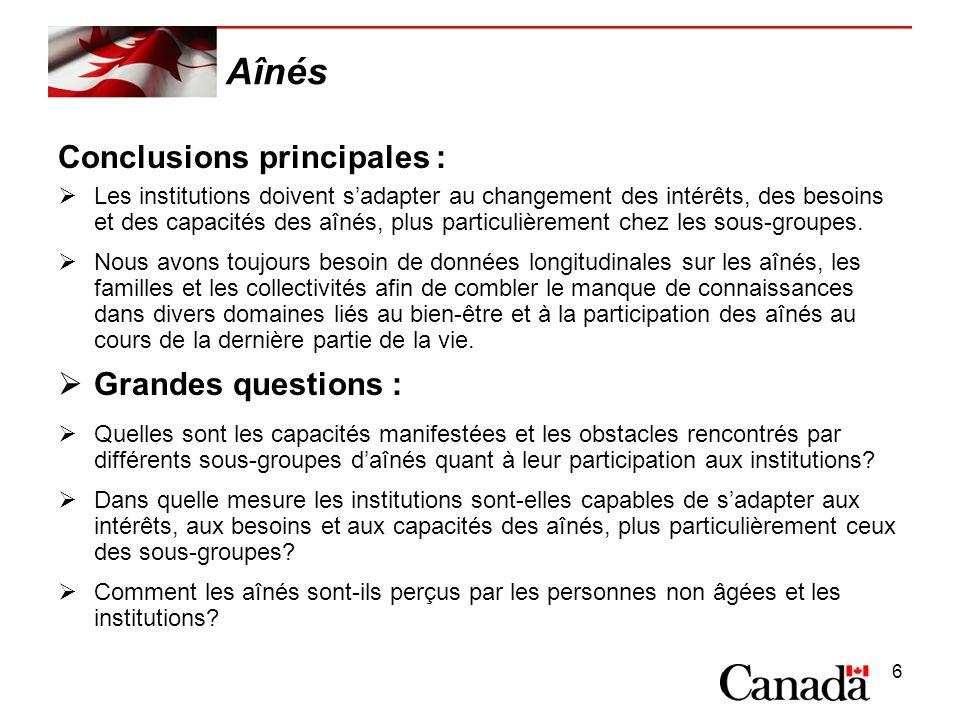 6 Aînés Conclusions principales : Les institutions doivent sadapter au changement des intérêts, des besoins et des capacités des aînés, plus particulièrement chez les sous-groupes.