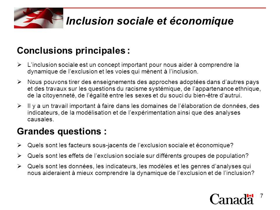 7 Inclusion sociale et économique Conclusions principales : Linclusion sociale est un concept important pour nous aider à comprendre la dynamique de lexclusion et les voies qui mènent à linclusion.