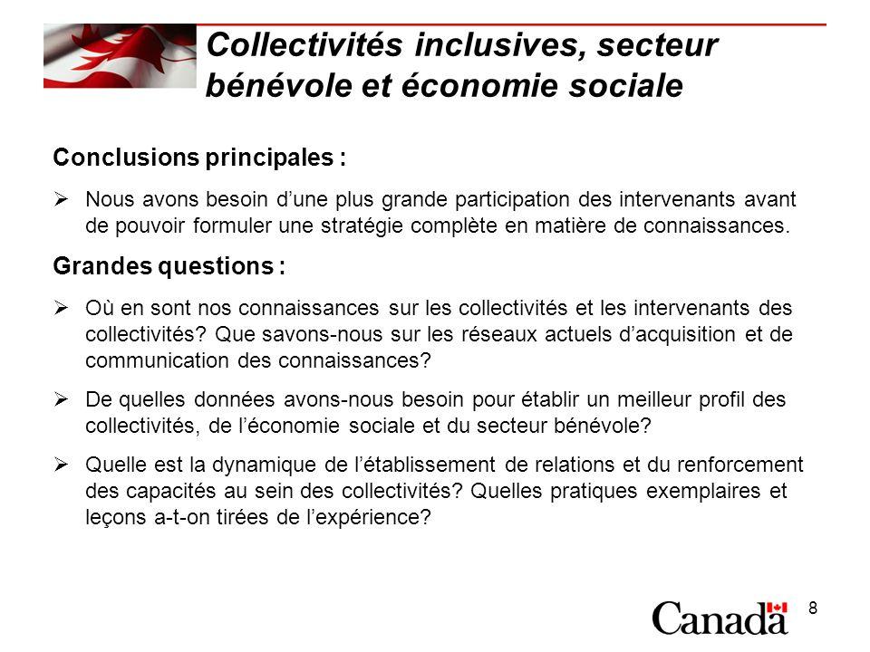 8 Collectivités inclusives, secteur bénévole et économie sociale Conclusions principales : Nous avons besoin dune plus grande participation des intervenants avant de pouvoir formuler une stratégie complète en matière de connaissances.