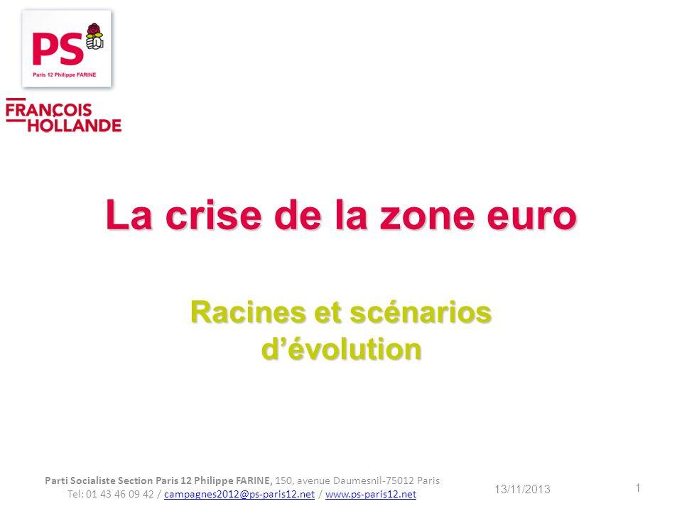 La crise de la zone euro Racines et scénarios dévolution Parti Socialiste Section Paris 12 Philippe FARINE, 150, avenue Daumesnil-75012 Paris Tel: 01