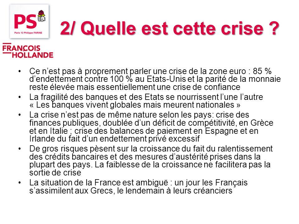 2/ Quelle est cette crise ? Ce nest pas à proprement parler une crise de la zone euro : 85 % dendettement contre 100 % au Etats-Unis et la parité de l