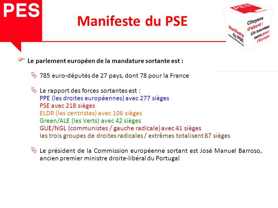 Le parlement européen de la mandature sortante est : 785 euro-députés de 27 pays, dont 78 pour la France Le rapport des forces sortantes est : PPE (les droites européennes) avec 277 sièges PSE avec 218 sièges ELDR (les centristes) avec 106 sièges Green/ALE (les Verts) avec 42 sièges GUE/NGL (communistes / gauche radicale) avec 41 sièges les trois groupes de droites radicales / extrêmes totalisent 87 sièges Le président de la Commission européenne sortant est José Manuel Barroso, ancien premier ministre droite-libéral du Portugal Manifeste du PSE