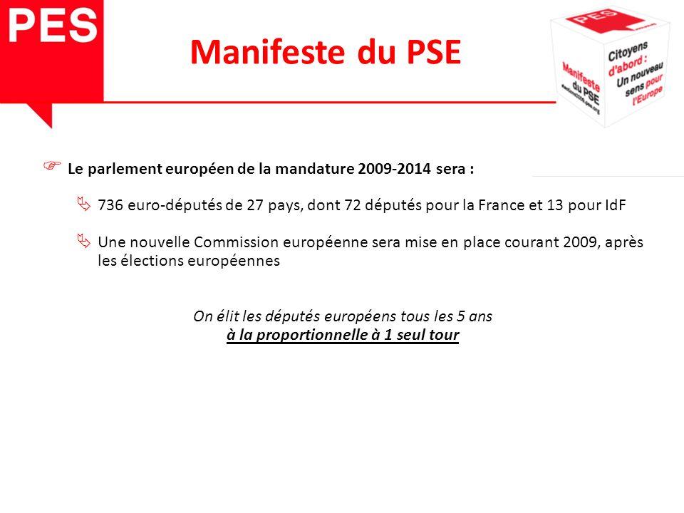 Le parlement européen de la mandature 2009-2014 sera : 736 euro-députés de 27 pays, dont 72 députés pour la France et 13 pour IdF Une nouvelle Commission européenne sera mise en place courant 2009, après les élections européennes On élit les députés européens tous les 5 ans à la proportionnelle à 1 seul tour Manifeste du PSE
