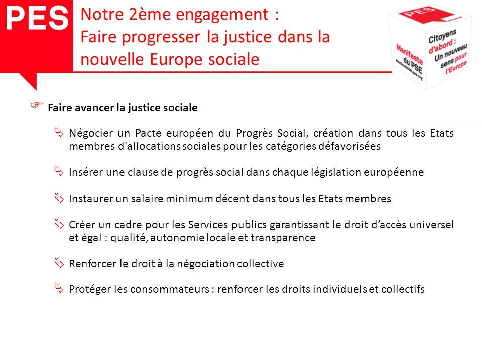 Protéger les droits des citoyens Faire respecter le droits des citoyens consacrés par la Convention Européenne des Droits de l Homme et par la Charte Européenne des Droits Fondamentaux Renforcer la législation anti-discrimination Contrôler strictement les lobbies Renforcer le rôle des régions et collectivités locales Notre 2ème engagement : Faire progresser la justice dans la nouvelle Europe sociale