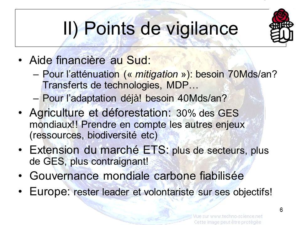 6 II) Points de vigilance Aide financière au Sud: –Pour latténuation (« mitigation »): besoin 70Mds/an.
