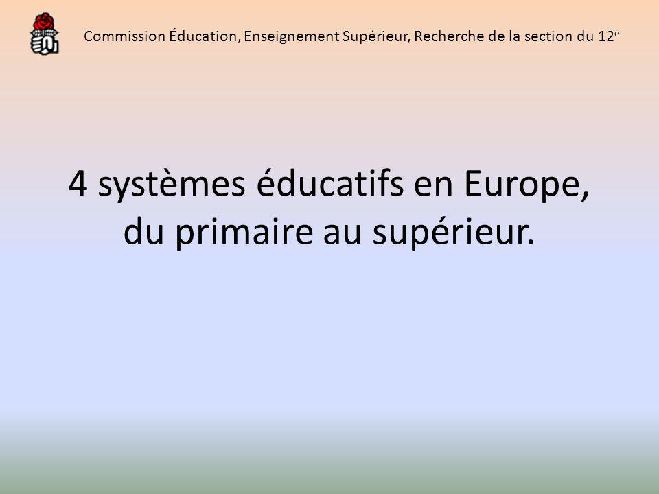4 systèmes éducatifs en Europe, du primaire au supérieur. Commission Éducation, Enseignement Supérieur, Recherche de la section du 12 e