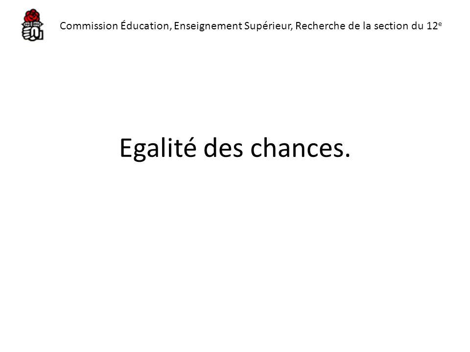 Egalité des chances. Commission Éducation, Enseignement Supérieur, Recherche de la section du 12 e