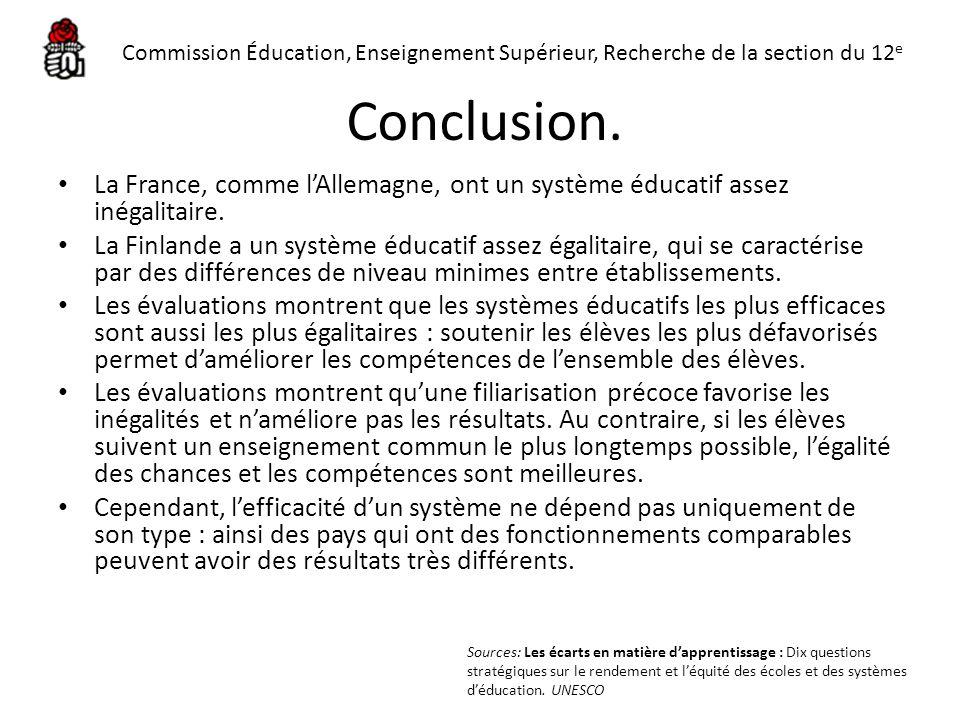 Conclusion. La France, comme lAllemagne, ont un système éducatif assez inégalitaire. La Finlande a un système éducatif assez égalitaire, qui se caract