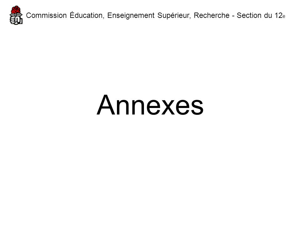 Annexes Commission Éducation, Enseignement Supérieur, Recherche - Section du 12 e