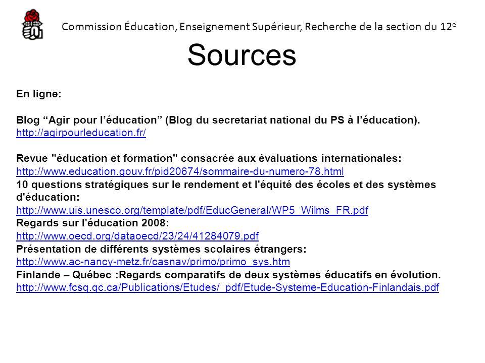 En ligne: Blog Agir pour léducation (Blog du secretariat national du PS à léducation). http://agirpourleducation.fr/ Revue