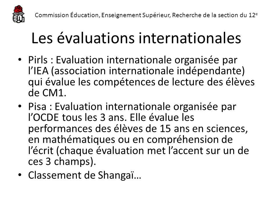 Les évaluations internationales Pirls : Evaluation internationale organisée par lIEA (association internationale indépendante) qui évalue les compéten