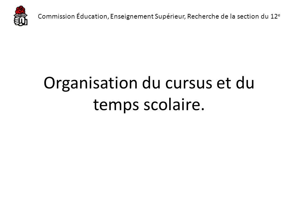 Organisation du cursus et du temps scolaire. Commission Éducation, Enseignement Supérieur, Recherche de la section du 12 e