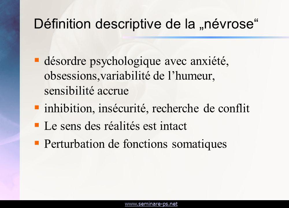 www.seminare-ps.net Définition descriptive de la névrose désordre psychologique avec anxiété, obsessions,variabilité de lhumeur, sensibilité accrue in