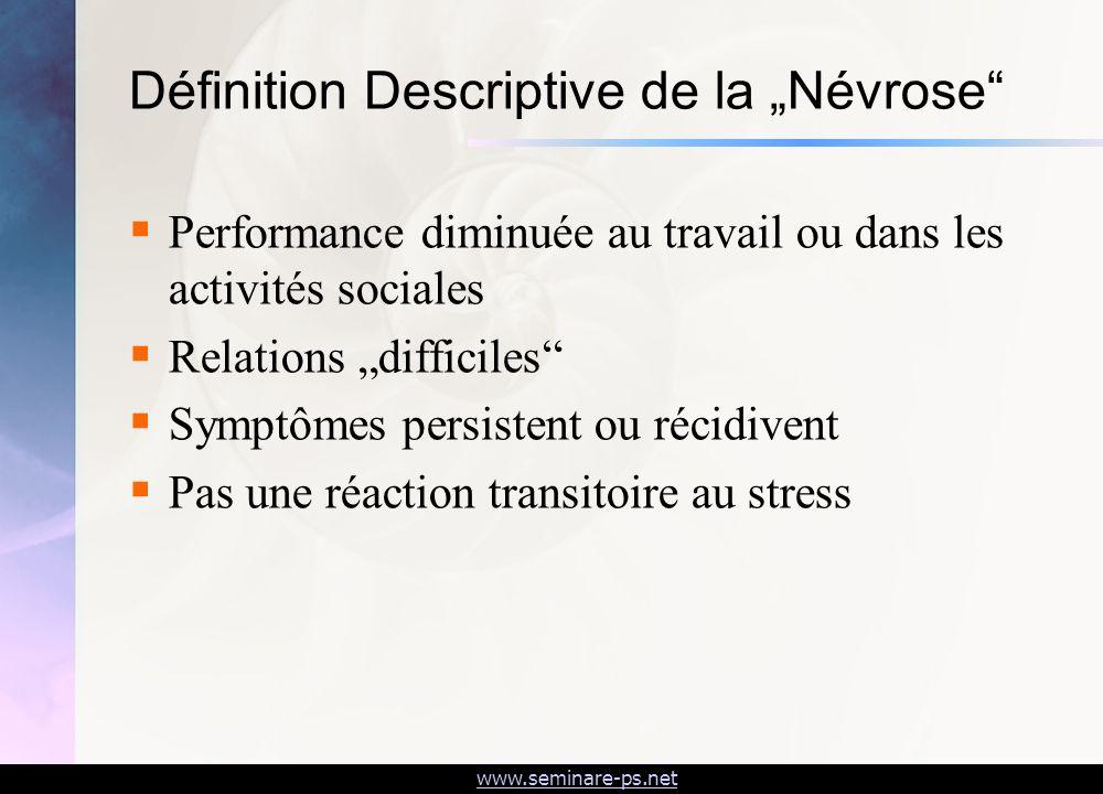 www.seminare-ps.net Définition Descriptive de la Névrose Performance diminuée au travail ou dans les activités sociales Relations difficiles Symptômes
