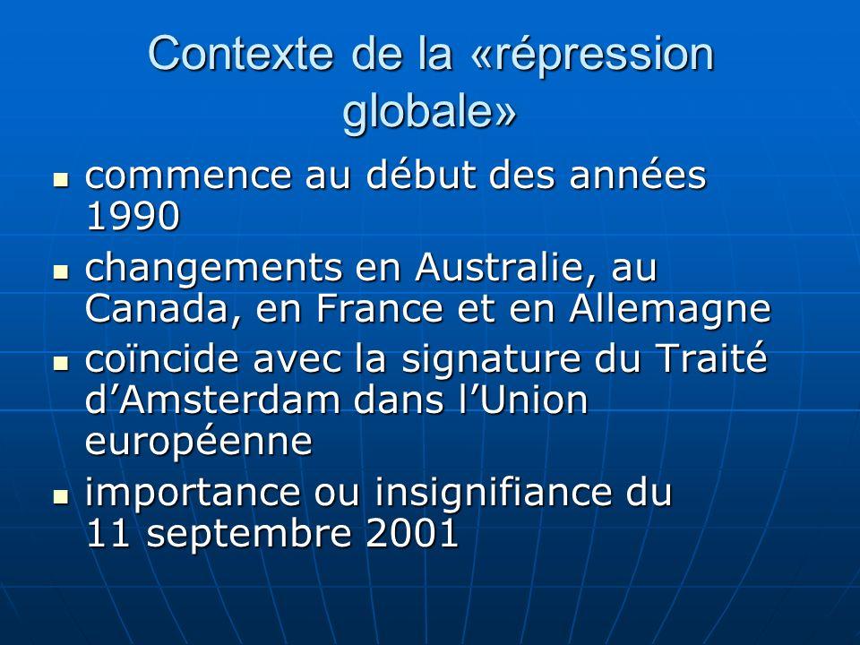 Contexte de la «répression globale» commence au début des années 1990 commence au début des années 1990 changements en Australie, au Canada, en France et en Allemagne changements en Australie, au Canada, en France et en Allemagne coïncide avec la signature du Traité dAmsterdam dans lUnion européenne coïncide avec la signature du Traité dAmsterdam dans lUnion européenne importance ou insignifiance du 11 septembre 2001 importance ou insignifiance du 11 septembre 2001