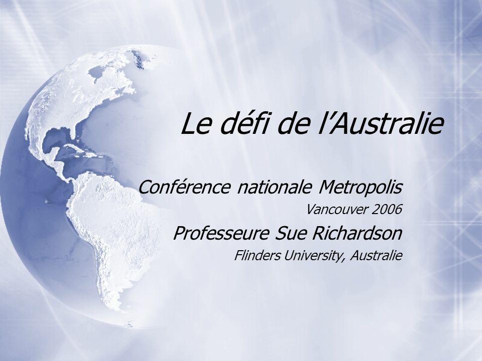 Le défi de lAustralie Conférence nationale Metropolis Vancouver 2006 Professeure Sue Richardson Flinders University, Australie Conférence nationale Me