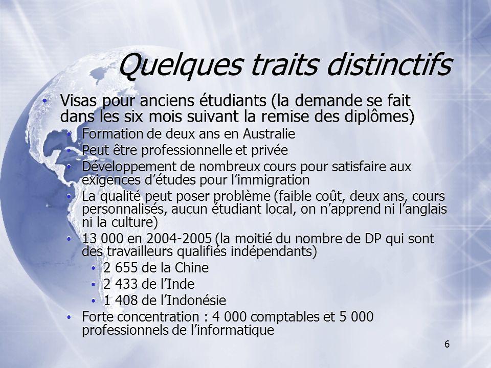 7 Statut des DP qualifiés six mois après leur arrivée : % de la cohorte, 2005