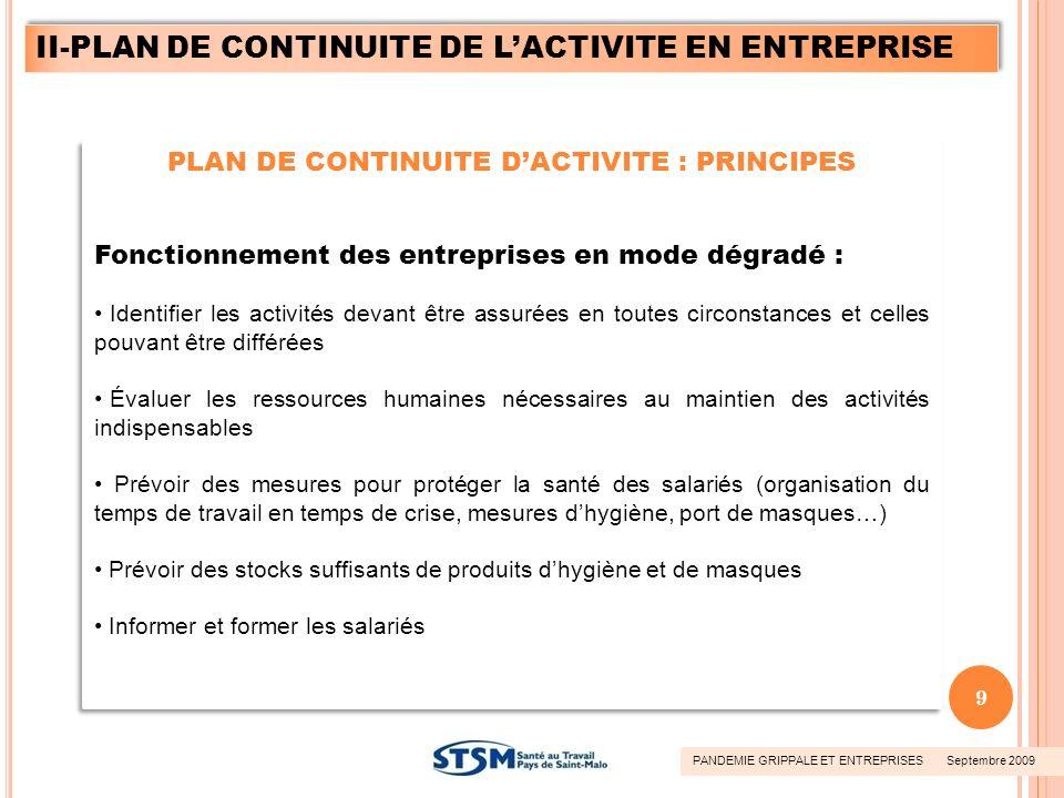 PLAN DE CONTINUITE DACTIVITE : PRINCIPES Fonctionnement des entreprises en mode dégradé : Identifier les activités devant être assurées en toutes circ