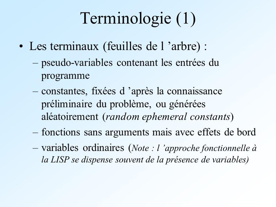 Terminologie (1) Les terminaux (feuilles de l arbre) : –pseudo-variables contenant les entrées du programme –constantes, fixées d après la connaissanc