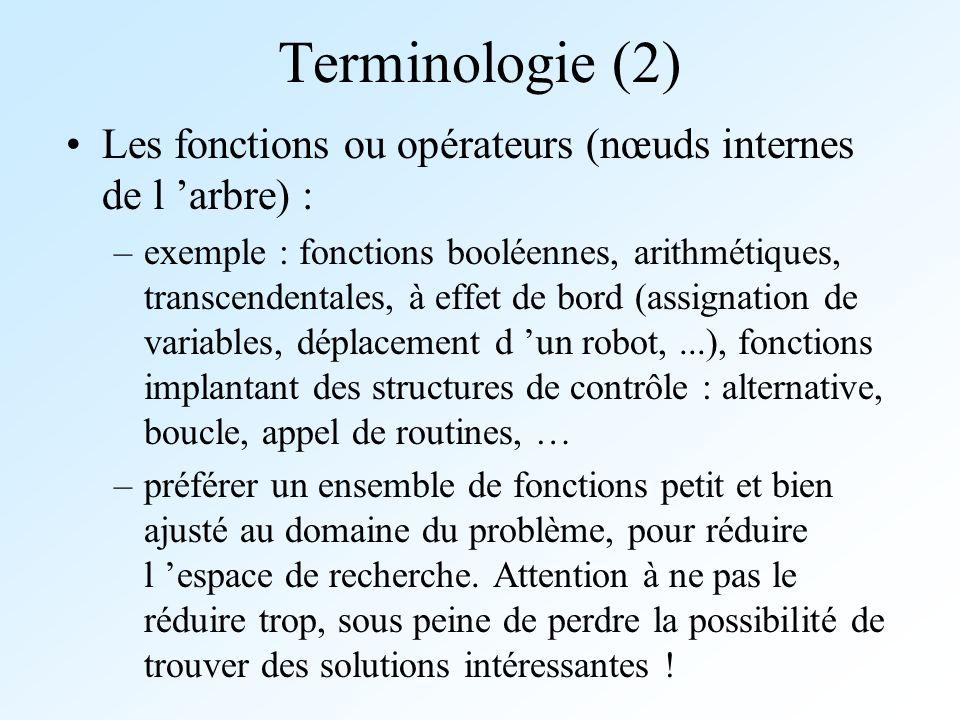 Terminologie (2) Les fonctions ou opérateurs (nœuds internes de l arbre) : –exemple : fonctions booléennes, arithmétiques, transcendentales, à effet d
