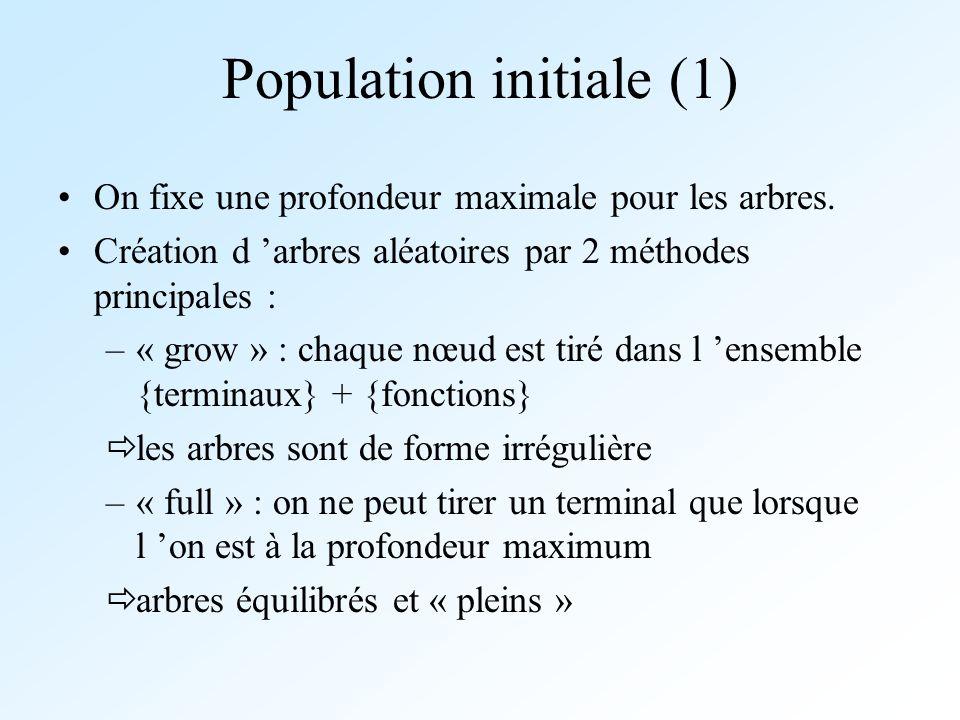Population initiale (1) On fixe une profondeur maximale pour les arbres. Création d arbres aléatoires par 2 méthodes principales : –« grow » : chaque
