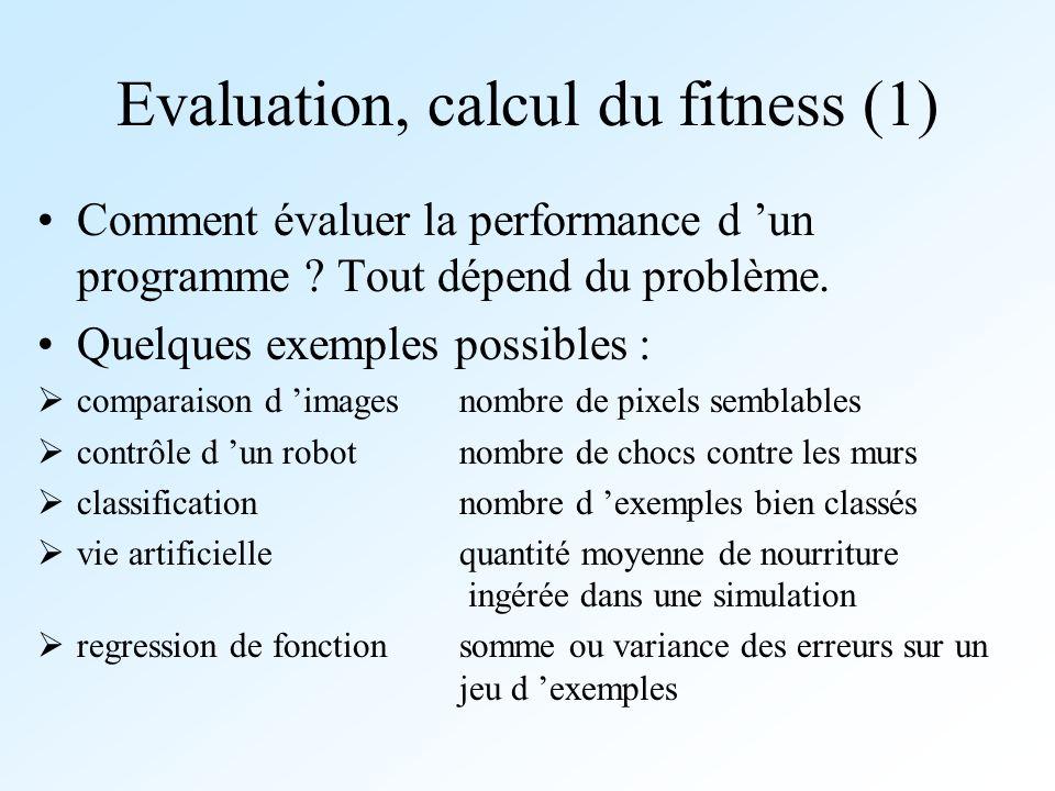 Evaluation, calcul du fitness (1) Comment évaluer la performance d un programme ? Tout dépend du problème. Quelques exemples possibles : comparaison d