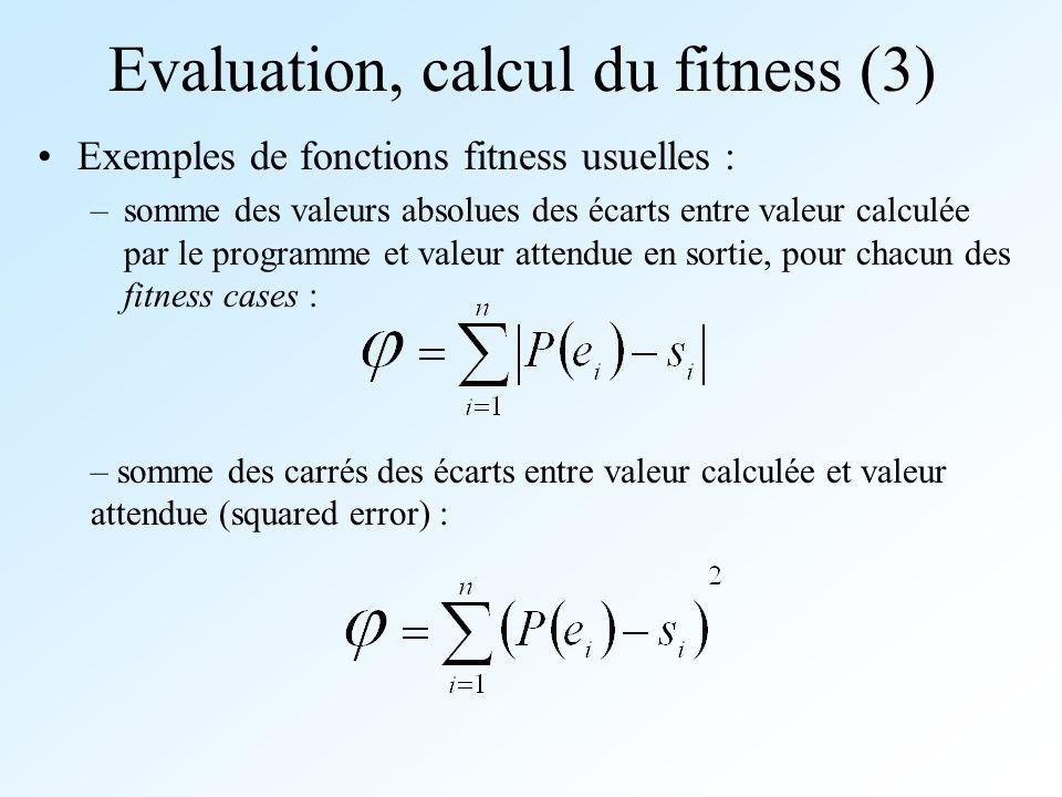 Evaluation, calcul du fitness (3) Exemples de fonctions fitness usuelles : –somme des valeurs absolues des écarts entre valeur calculée par le program