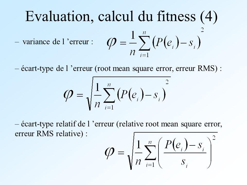 Evaluation, calcul du fitness (4) –variance de l erreur : – écart-type de l erreur (root mean square error, erreur RMS) : – écart-type relatif de l er