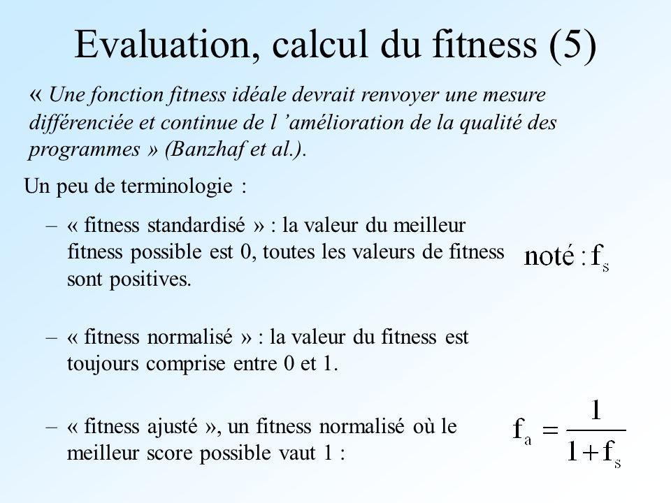 Evaluation, calcul du fitness (5) –« fitness normalisé » : la valeur du fitness est toujours comprise entre 0 et 1. « Une fonction fitness idéale devr