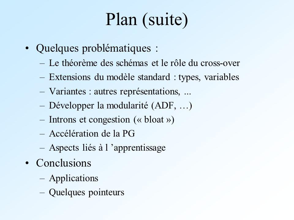 Plan (suite) Quelques problématiques : –Le théorème des schémas et le rôle du cross-over –Extensions du modèle standard : types, variables –Variantes