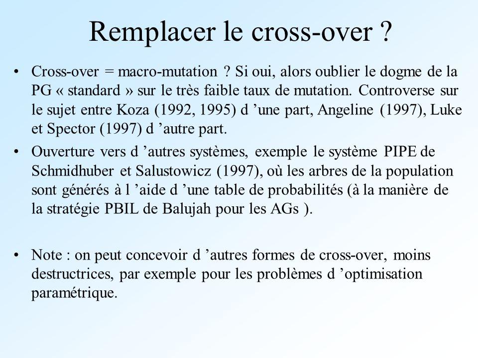 Remplacer le cross-over ? Cross-over = macro-mutation ? Si oui, alors oublier le dogme de la PG « standard » sur le très faible taux de mutation. Cont