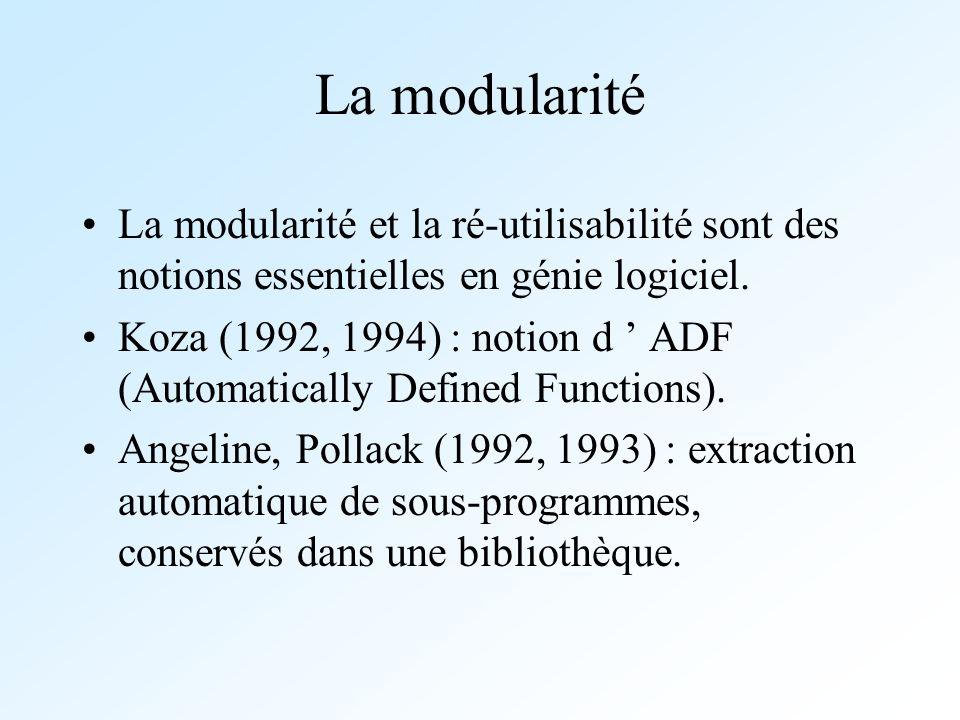 La modularité La modularité et la ré-utilisabilité sont des notions essentielles en génie logiciel. Koza (1992, 1994) : notion d ADF (Automatically De