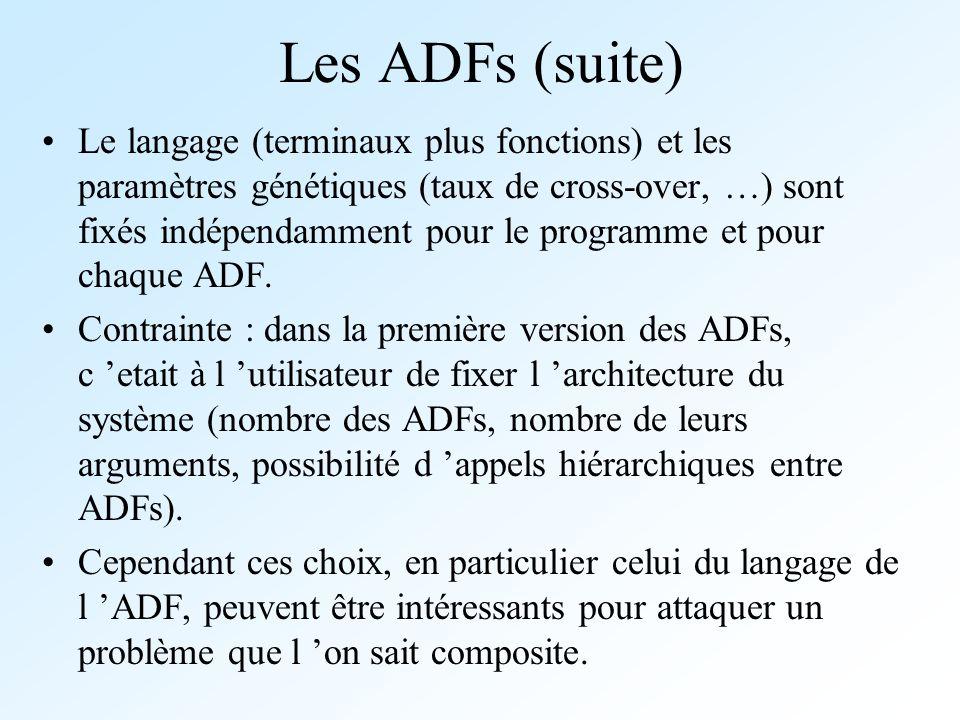 Les ADFs (suite) Le langage (terminaux plus fonctions) et les paramètres génétiques (taux de cross-over, …) sont fixés indépendamment pour le programm