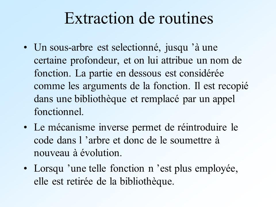 Extraction de routines Un sous-arbre est selectionné, jusqu à une certaine profondeur, et on lui attribue un nom de fonction. La partie en dessous est