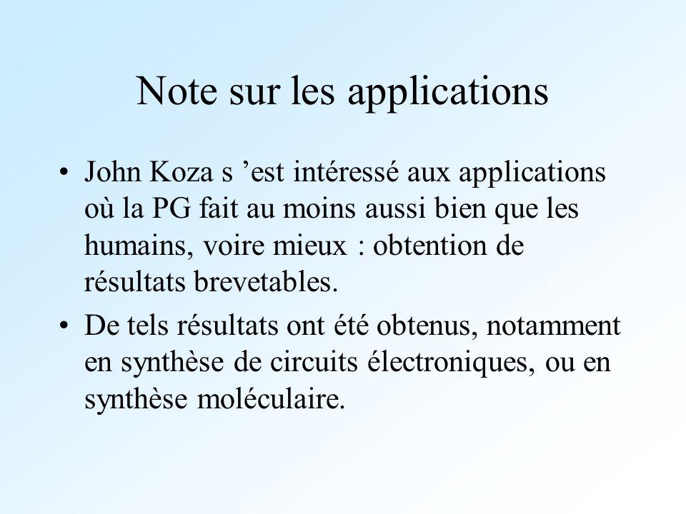Note sur les applications John Koza s est intéressé aux applications où la PG fait au moins aussi bien que les humains, voire mieux : obtention de rés