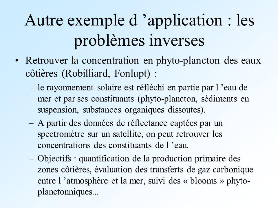 Autre exemple d application : les problèmes inverses Retrouver la concentration en phyto-plancton des eaux côtières (Robilliard, Fonlupt) : –le rayonn