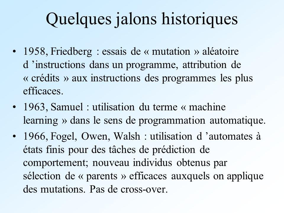 Quelques jalons historiques 1958, Friedberg : essais de « mutation » aléatoire d instructions dans un programme, attribution de « crédits » aux instru