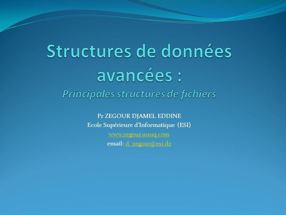 Les principales structures de fichiers Accès multicritères Organisation d un index secondaire listes inversées .