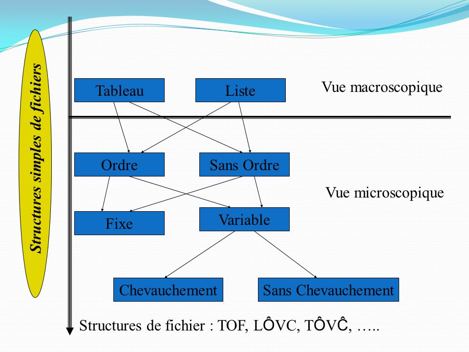TableauListe OrdreSans Ordre Fixe Variable ChevauchementSans Chevauchement Vue macroscopique Vue microscopique Structures de fichier : TOF, L Ô VC, T