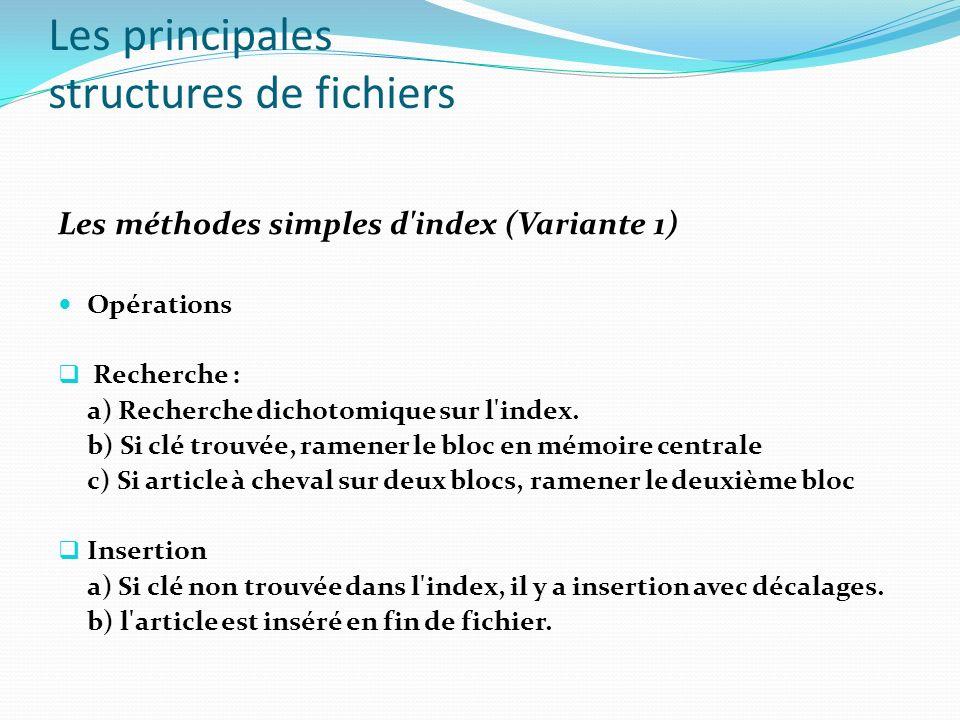 Les principales structures de fichiers Les méthodes simples d'index (Variante 1) Opérations Recherche : a) Recherche dichotomique sur l'index. b) Si c