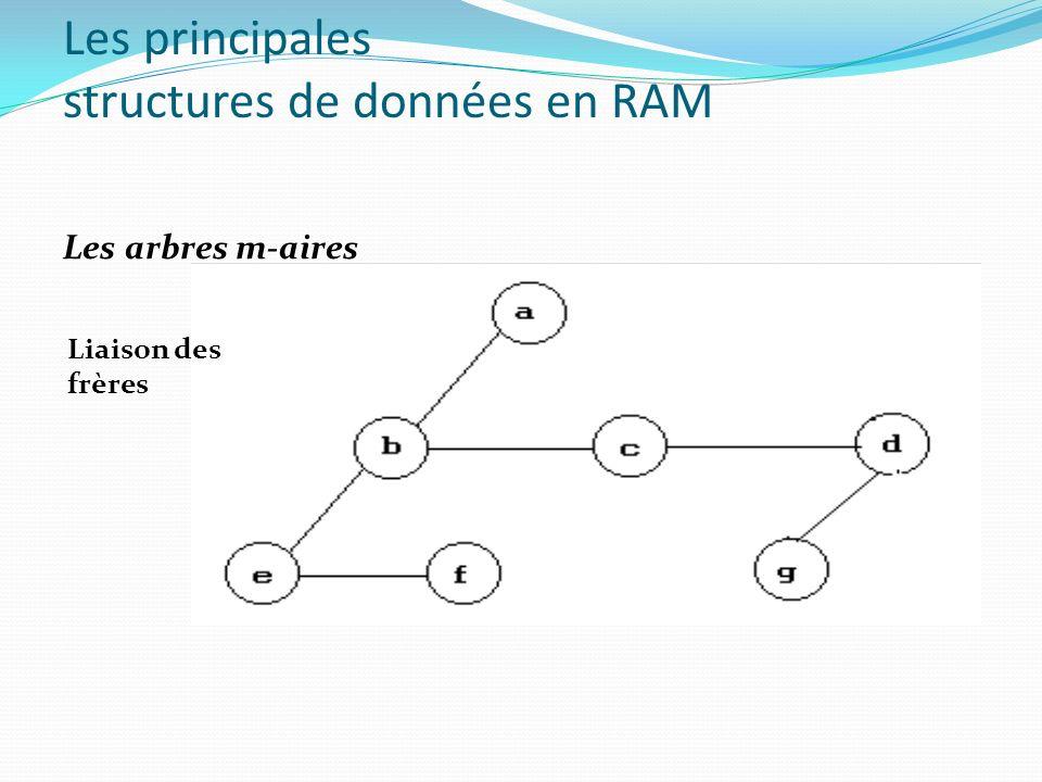 Les principales structures de données en RAM Les arbres m-aires Liaison des frères