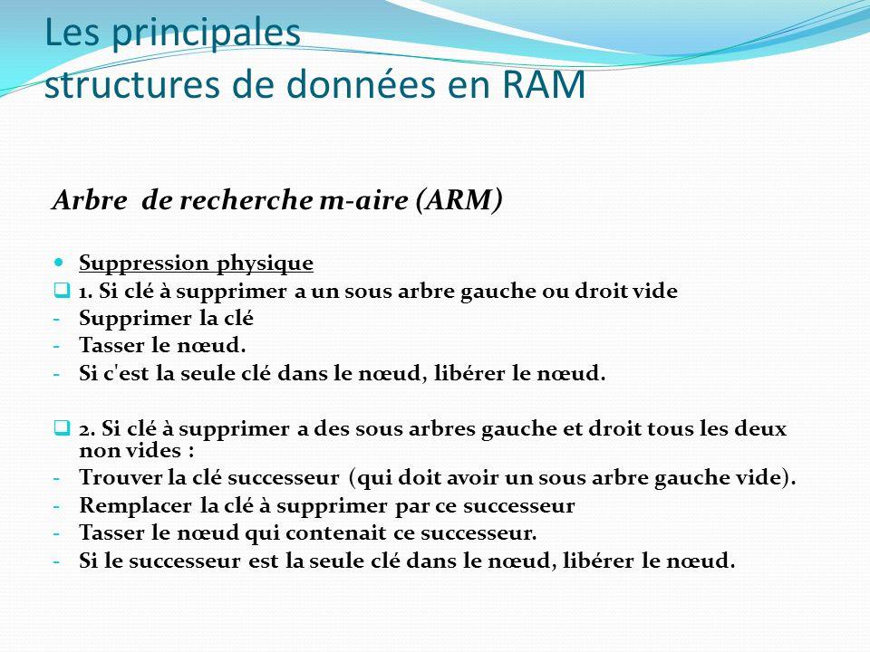 Les principales structures de données en RAM Arbre de recherche m-aire (ARM) Suppression physique 1. Si clé à supprimer a un sous arbre gauche ou droi