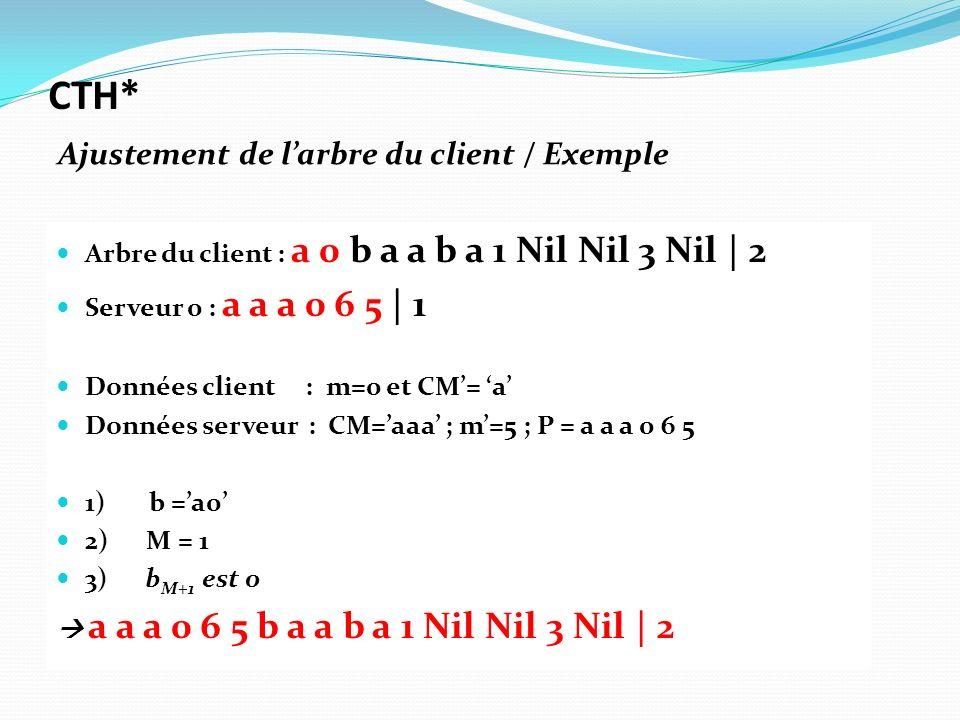 Arbre du client : a 0 b a a b a 1 Nil Nil 3 Nil | 2 Serveur 0 : a a a 0 6 5 | 1 Données client : m=0 et CM= a Données serveur : CM=aaa ; m=5 ; P = a a