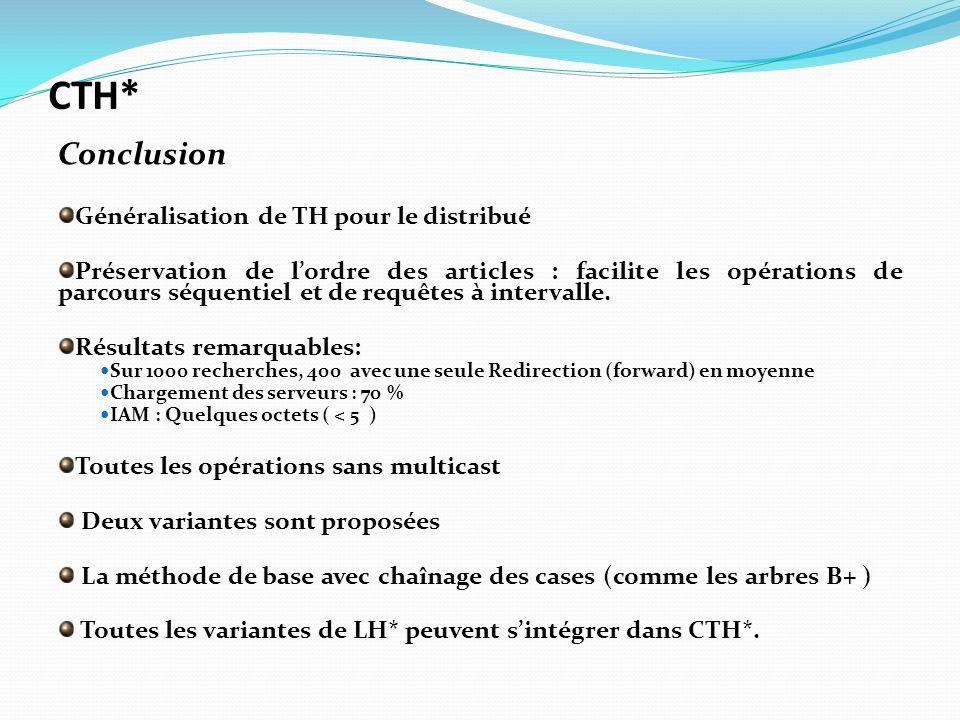 Généralisation de TH pour le distribué Préservation de lordre des articles : facilite les opérations de parcours séquentiel et de requêtes à intervall