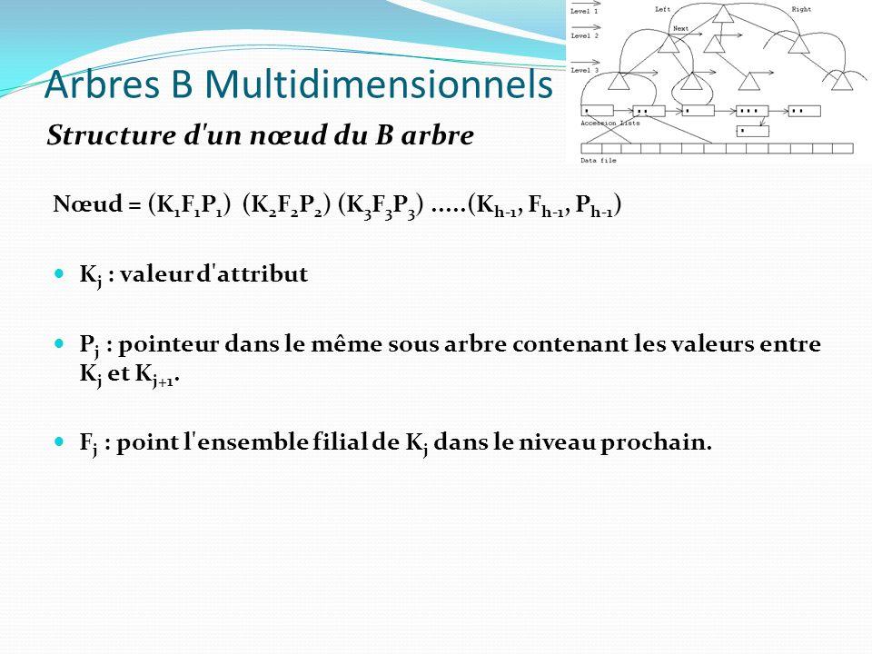 Arbres B Multidimensionnels Nœud = (K 1 F 1 P 1 ) (K 2 F 2 P 2 ) (K 3 F 3 P 3 ).....(K h-1, F h-1, P h-1 ) K j : valeur d'attribut P j : pointeur dans
